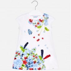 Платье с коротким рукавом и цветами для девочки