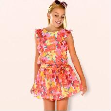 Шифоновое платье для девочек с короткими рукавами и рюшами