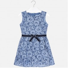 Кружевное платье с поясом для девочек