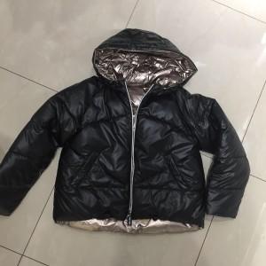 Двусторонняя куртка  для девочки Mayoral (Майорал) черно-бронзового оттенка