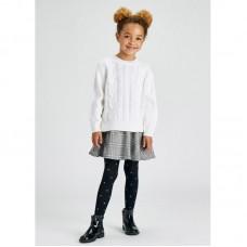 Комбинированное платье 2 в 1  на девочку Mayoral (Майорал) молочно-серого оттенка