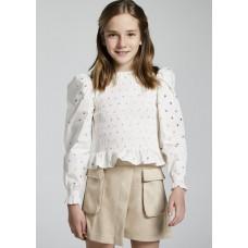 Блузка с золотистым принтом для девочки Mayoral (Майорал) молочного оттенка