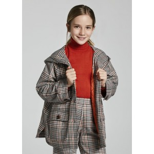 Пальто в клетку Mayoral (Майорал) для девочки бежевого оттенка
