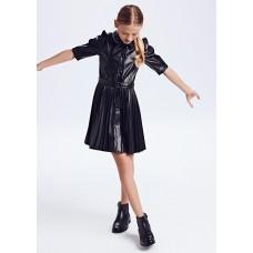 Платье -эко-кожа Mayoral (Майорал) для девочки черного оттенка