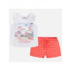 Комплект розовый футболка+ шорты для девочки Mayoral