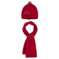 Шапка с шарфом на девочку Mayoral (Майорал)  бордовый оттенок