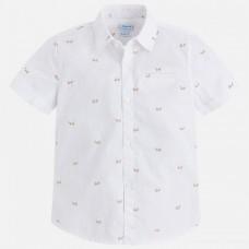 "Рубашка ""самолетики"" на мальчика Mayoral(Майорал) молочного оттенка"