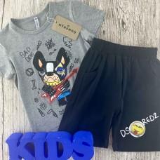 Комплект (футболка,шорты) для мальчика серого оттенка