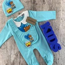 Комплект для новорожденного голубой оттенка
