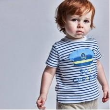Полосатая футболка для мальчика Mayoral (Майорал) полостатый принт