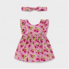 Платье  с повязкой для девочки Mayoral (Майорал) цветочный оттенок