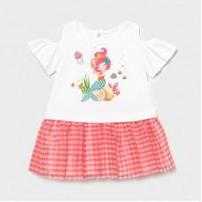 Комбинированное платье для девочки Mayoral (Майорал) оттенок фламинго