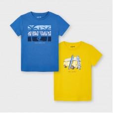 Комплект футболок Mayoral (Майорал) на мальчика голубая,желтая