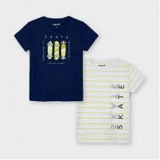 Комплект футболок Mayoral (Майорал) на мальчика сине-молочный оттенок