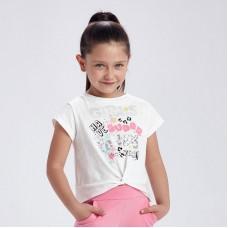 Футболка с узлом для девочки Mayoral (Майорал) молочного оттенка
