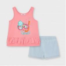 Комплект ( майка и шорты)  Mayoral (Майорал) для девочки оттенок фламинго