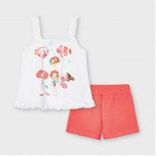 Комплект ( майка и шорты) Mayoral (Майорал) для девочки оттенок коралловый