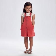 Джинсовый  комбинезон-юбка  для девочки Mayoral (Майорал) коралловый оттенок