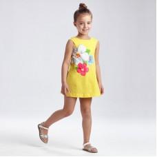 Платье с цветочным принтом для девочки Mayoral (Майорал) лимонного оттенка