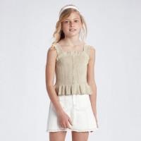 Блузка с люрексом на пуговицах девочка Mayoral (Майорал) золотистый оттенок