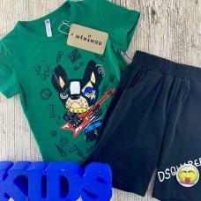Комплект (футболка,шорты) для мальчика зеленого оттенка