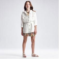 Льняная куртка для девочек Mayoral (Майорал) молочного оттенка