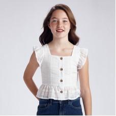 Блузка с люрексом на пуговицах девочка Mayoral (Майорал) молочного оттенка