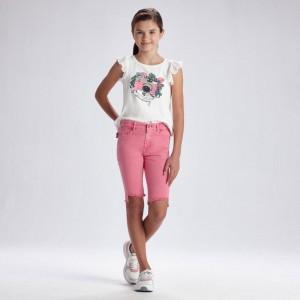 Джинсовые велошорты для девочки Мayoral (Майорал) розового оттенка