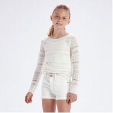Джемпер ажурный для девочек Mayoral (Майорал) молочный оттенок