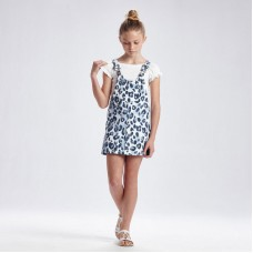 Джинсовый комбинезон-юбка для девочки Mayoral (Майорал) синий оттенок