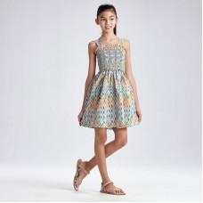 Платье со сборками для девочки Mayoral (Майорал) цветной принт
