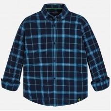 Рубашка в клетку Mayoral (Майорал) для мальчика синего оттенка