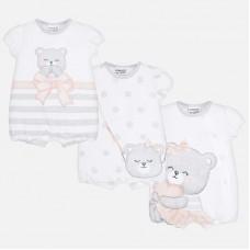 Набор из трех коротких пижам для новорожденной девочки