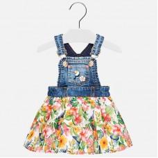 Комбинированная юбка с принтом для девочки