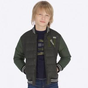 Куртка-бомбер для мальчика Mayoral (Майорал) серо-зеленого оттенка