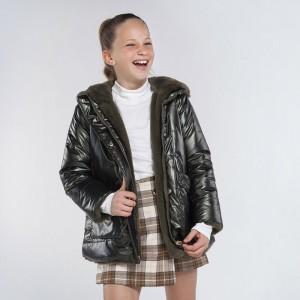 Куртка двусторонняя на девочку Mayoral (Майорал) оливкового оттенка