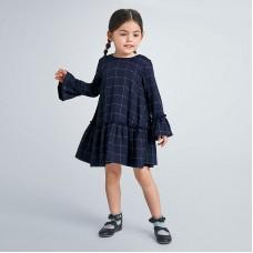 Платье в клетку на девочку Mayoral (Майорал) темно-синего оттенка