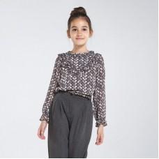 Шифоновая блузка с принтом для девочки Mayoral (Майорал)  темно-серый оттенок