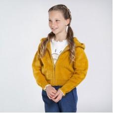 Кофта меховая Mayoral(Майорал) для девочки горчичного оттенка