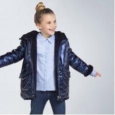 Куртка двусторонняя на девочку Mayoral (Майорал)  синего оттенка