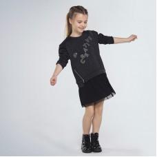 Комбинированное платье для девочки Mayoral (Майорал) черный люрекс