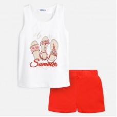 Комплект Mayoral (Майорал) майка и шорты для девочки коралловый