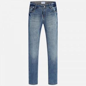 Комбинированные джинсы для девочки Mayoral синего оттенка