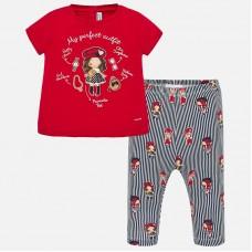Комплект футболка и леггинсы Mayoral (Майорал) для девочки красного оттенка