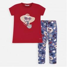 Комплект : футболка,леггинсы Mayoral (Майорал) для девочки красного оттенка