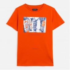 Футболка скейтбордисты Mayoral (Майорал) для мальчика оранжевого оттенка