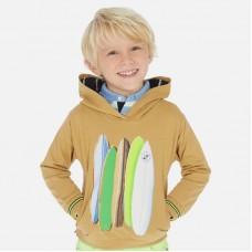 Пуловер с капюшоном Mayoral (Майорал) для мальчика бежевого оттенка