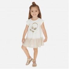 Трикотажное платье на девочку Mayoral (Майорал) бежевый оттенок