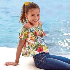 Блузка на девочку Mayoral (Майорал) тропического оттенка
