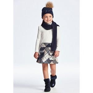 Комбинированное платье на девочку Mayoral (Майорал) молочного оттенка